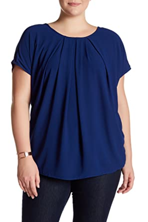 Bobeau Plus Size Short Sleeve Pleated Front Blouse Navy Blue 0x At