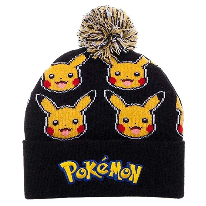 164cb031144 Image Unavailable. Image not available for. Color  Bioworld Pokemon Pikachu  Face All Over Print Pom Beanie