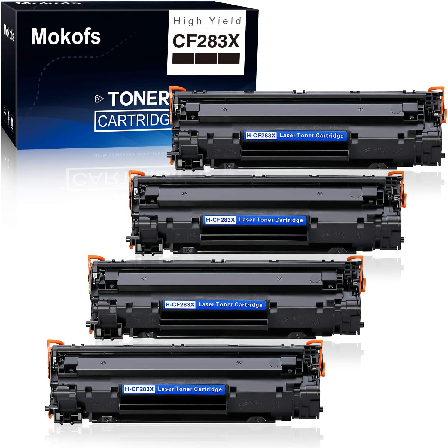 Mokofs 83X H-CF283X Toner Compatible for HP 83A CF283A Toner Cartridge, High Yield, use with HP Laserjet Pro MFP M125fn M125fw M127fn M127fw M201n M201dw M225dn M225dw M225rdn Printer (Black, 4 Pack)