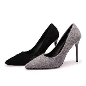f721dcc4bf ZXMXY Zapatos de Mujer Zapatos de Temperamento de Felpa Zapatos de Tacón  Alto Puntiagudos Zapatos Atractivos