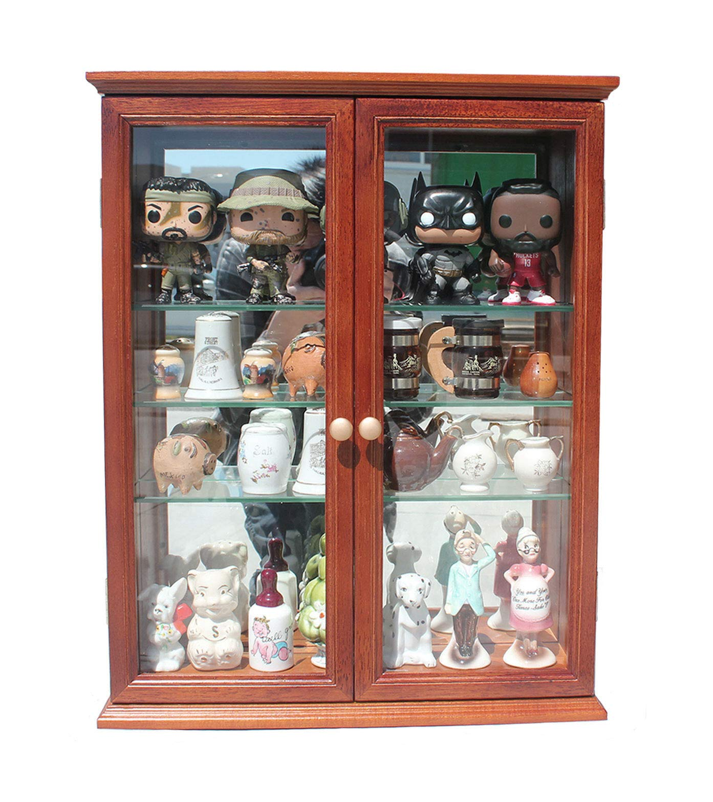 Small Wall Mounted Curio Cabinet/Wall Display Case with Glass Door (Mahogany Finish) by DisplayGifts