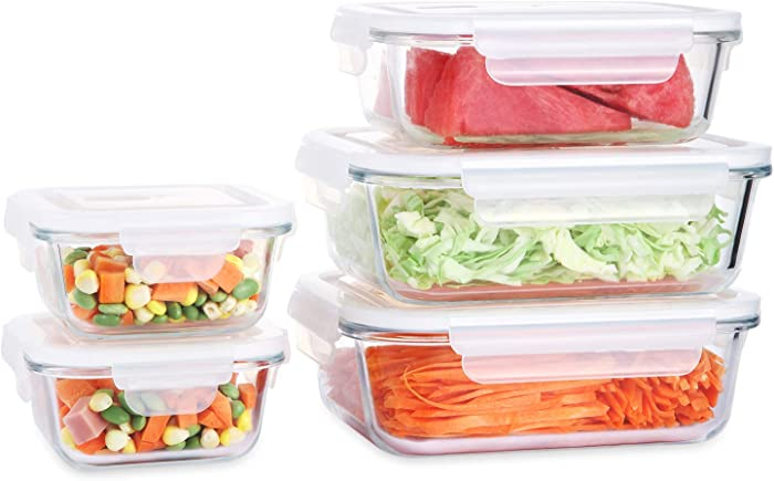 Fresh Friend Glass Food Storage Containers with Lids Airtight BPA Free, Leakproof Lunch Containers, Stackable Kitchen Freezer Containers for Food Meal Prep, Christmas Gift, Set of 5