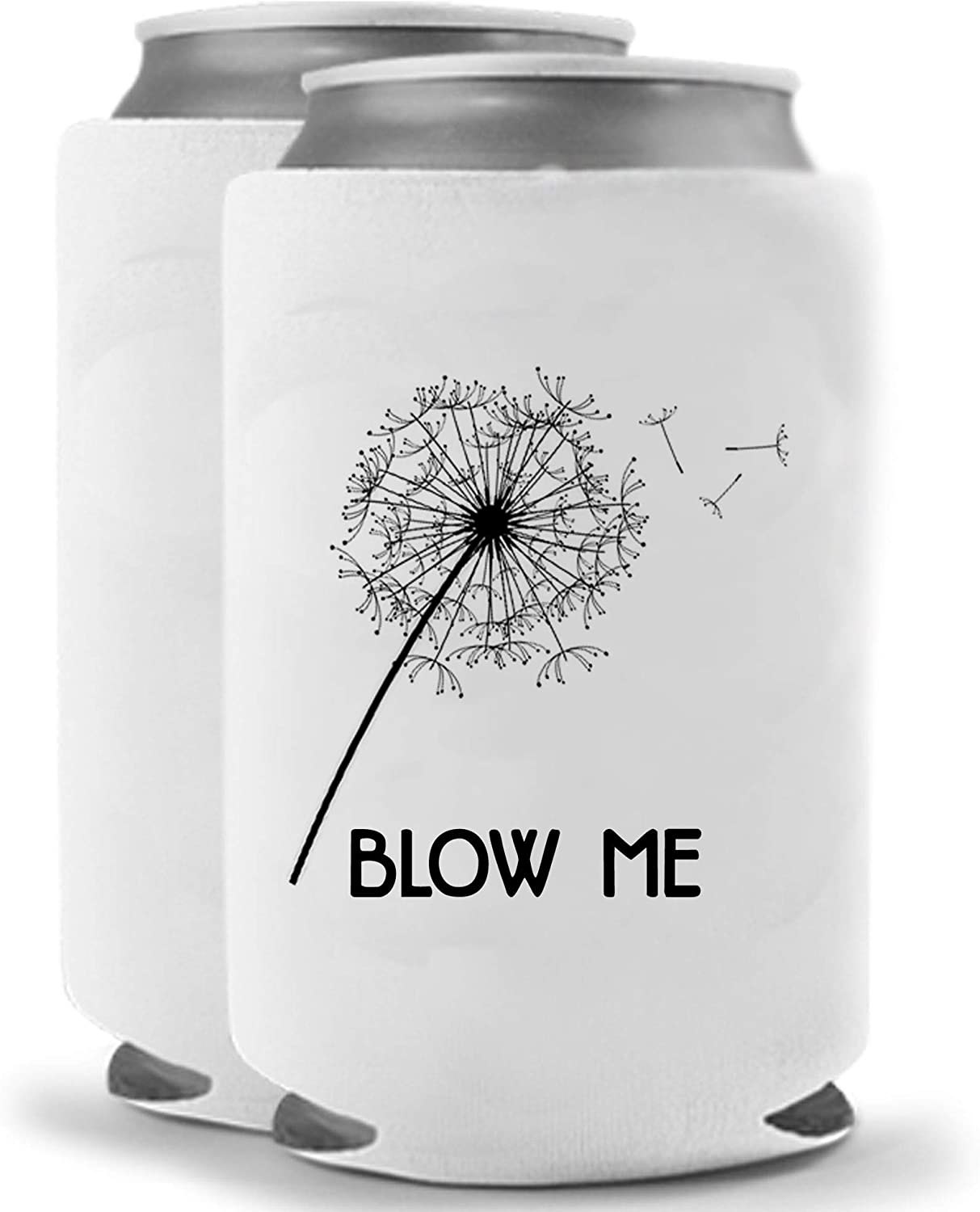 Blow Me Taraxacum Dandelion Flower Can Cooler | Set of two (2) | Crude Funny Gag Gift | Funny Novelty Bottle Insulated Coolie Huggie | Beverage Holder - Beer Gifts Quality Neoprene No Fade Can Cooler