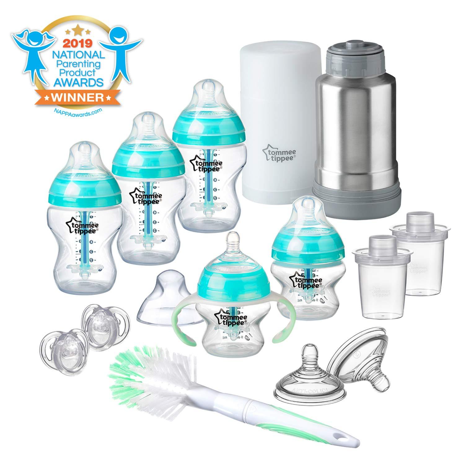 Tommee Tippee Advanced Anti-Colic Newborn Baby Bottle Feeding Gift Set, Heat Sensing Technology, Breast-Like Nipple, BPA-Free