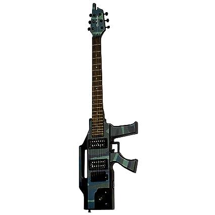 Guitarra eléctrica de Glen Burton GE47, estructura sólida y diseño de camuflaje