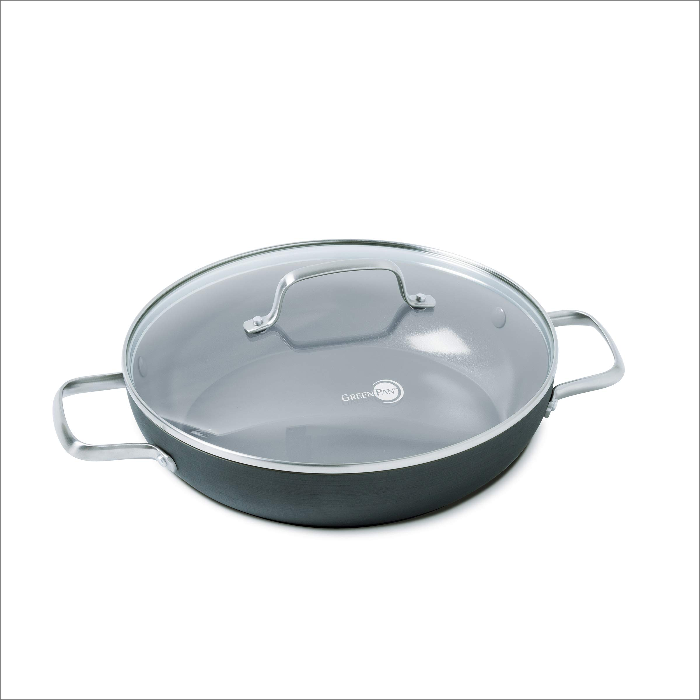 GreenPan Chatham 11'' ceramic Non-Stick Covered Everyday Pan with 2 Helpers, Grey by GreenPan