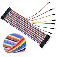 Easy Electronics - 120 Pieces Jumper Wires Ribbon Cables Kit Wire 40 Pin M/ M, 40 Pin M/ F, 40 Pin F/ F for Arduino, Breadboard