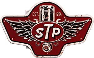 Open Road Brands STP Retro Weathered Wings Embossed Tin Metal Magnet Art Sign - an Officially Licensed Product Great Addition to Add What You Love to Your Home/Garage Decor