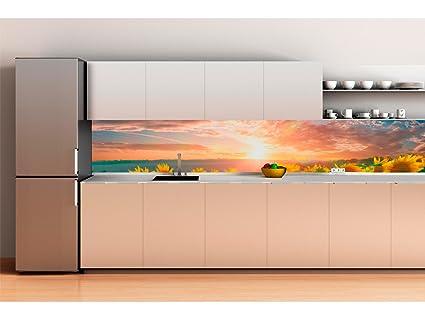 Decoracion Pared Cocina Panelado En Aluminio 180x70cm Puesta De Sol