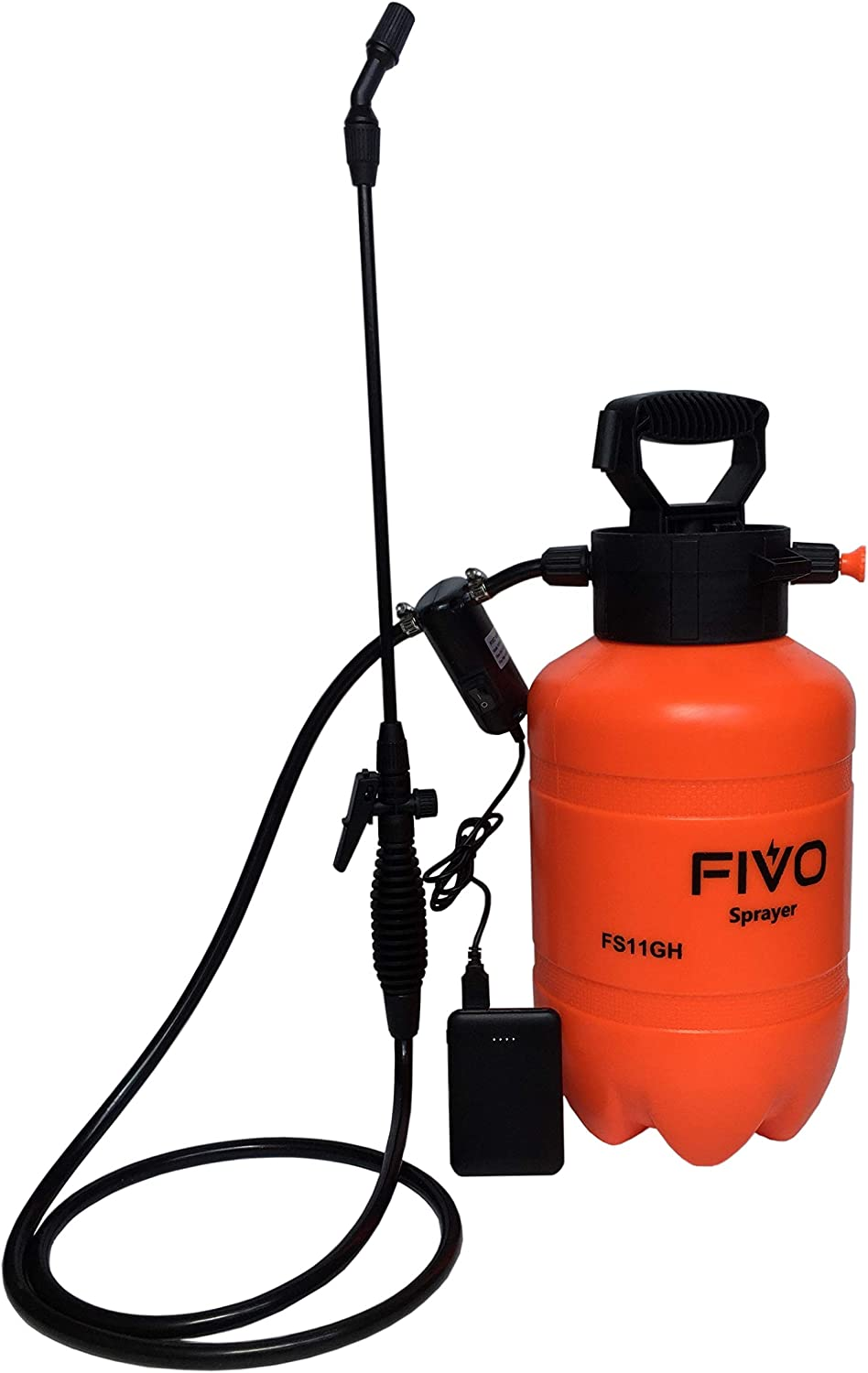 FIVO Battery Powered Sprayer and Pressure Sprayer Dual Functions for Lawn and Garden with Rechargeable 5V 2A Lithium Ion Power Bank and Shoulder Strap (1.3 Gallon)