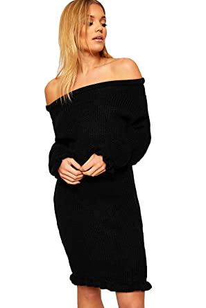 dd151cf41513 WearAll Women's Cable Knitted Frill Long Sleeve Off Shoulder Ladies Mini Jumper  Dress 8-14: Amazon.co.uk: Clothing