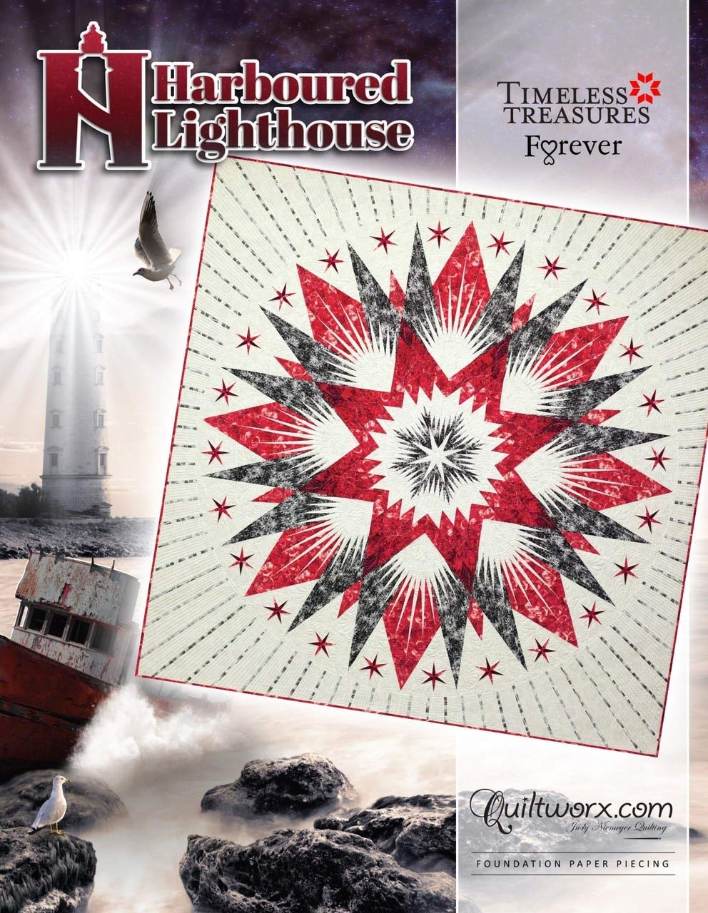 Harboured Lighthouse Quilt Pattern 96 x 96~Foundation Paper Piecing Pattern by Judy Niemeyer of Quiltworx by Judy Niemeyer