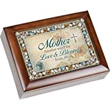 Mother Another Word for Love & Beauty Mom Jewel Musical Music Jewelry Box with Dark Wood Finish Plays Amazing Grace