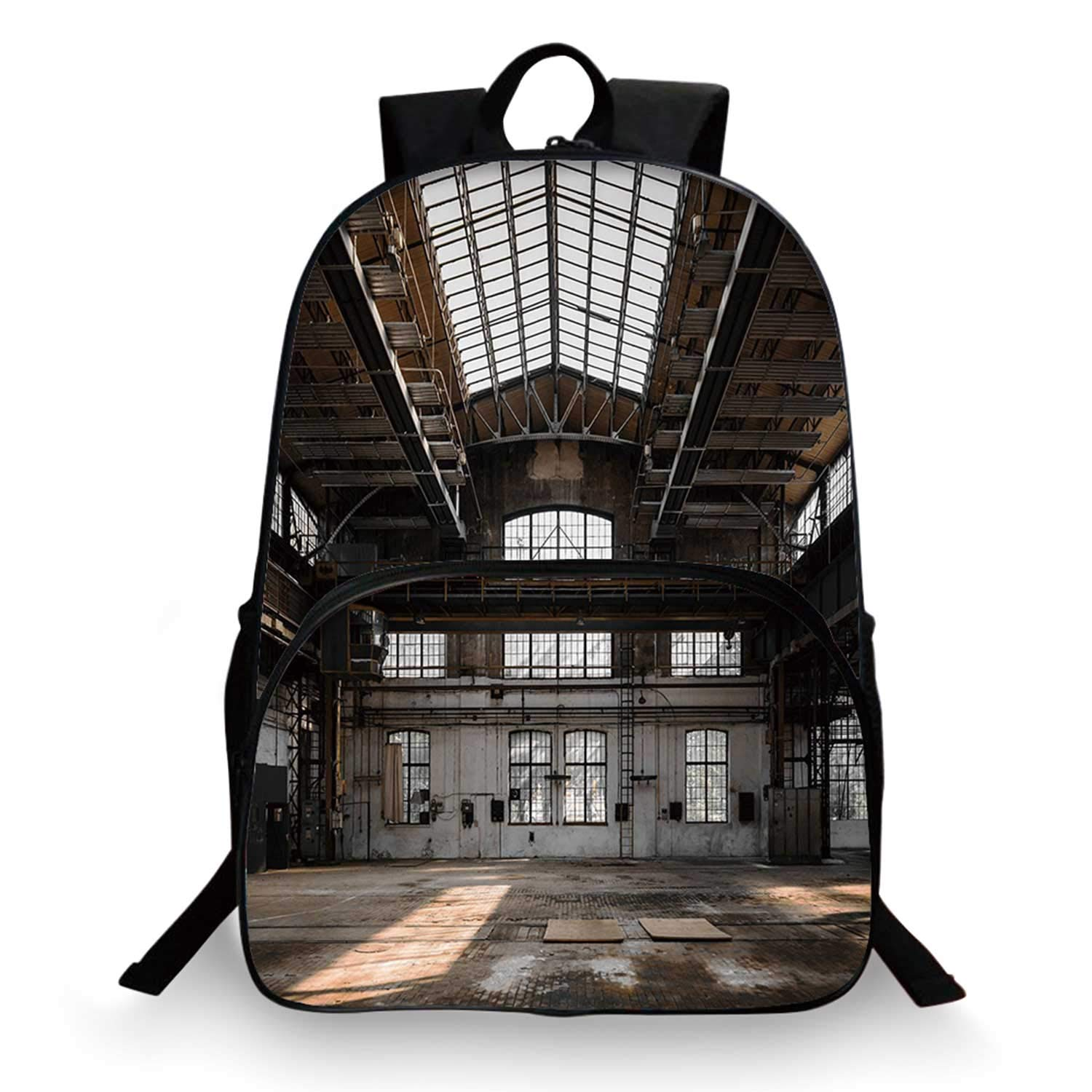 Industrial Decor Various Schoolbag,Inside a Hangar Old Architecture Construction Urban Timeworn Windows Decorative for student,11''Lx6''Wx15''H by C COABALLA