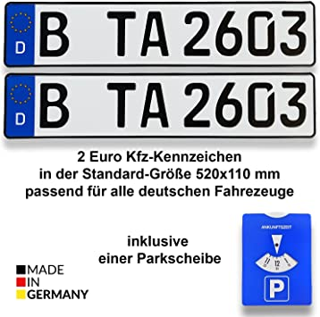 TA TradeArea 2 Universal License Plate Holder in Black for Number Plates 460 mm x 110 mm Including a Parking Disc and Vehicle License Cover