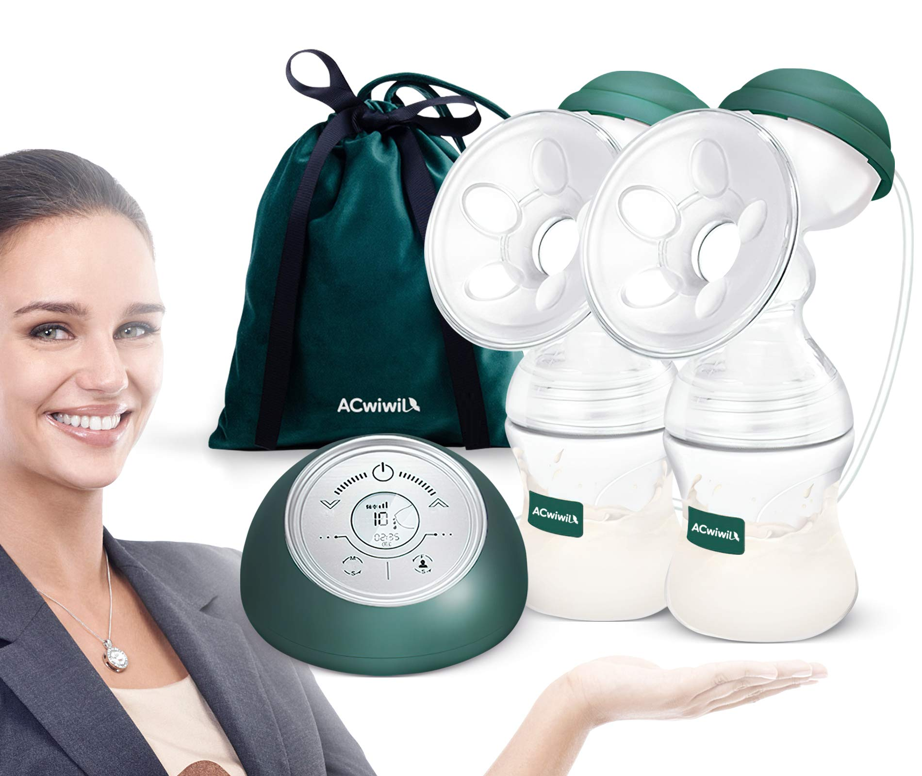 Double Electric Breast Pump Portable handsfree Wearable Wireless with Large Capacity Battery