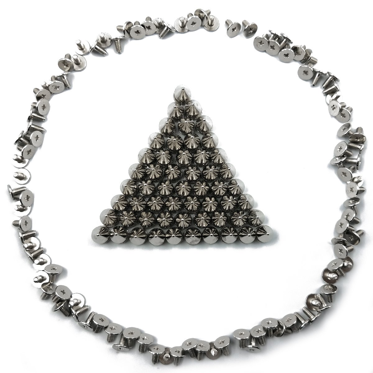 100sets Silver SamuRita Metal Style Mushroom Tree Spikes Leather Studs and Rivets for Crafts DIY Designs