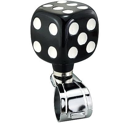 Lensuntom LUNSOM Suicide Knob Steering Wheel Spinner Knobs Heavy Duty Steering Wheel Power Handle Red Square Cube Drivers (Black): Automotive