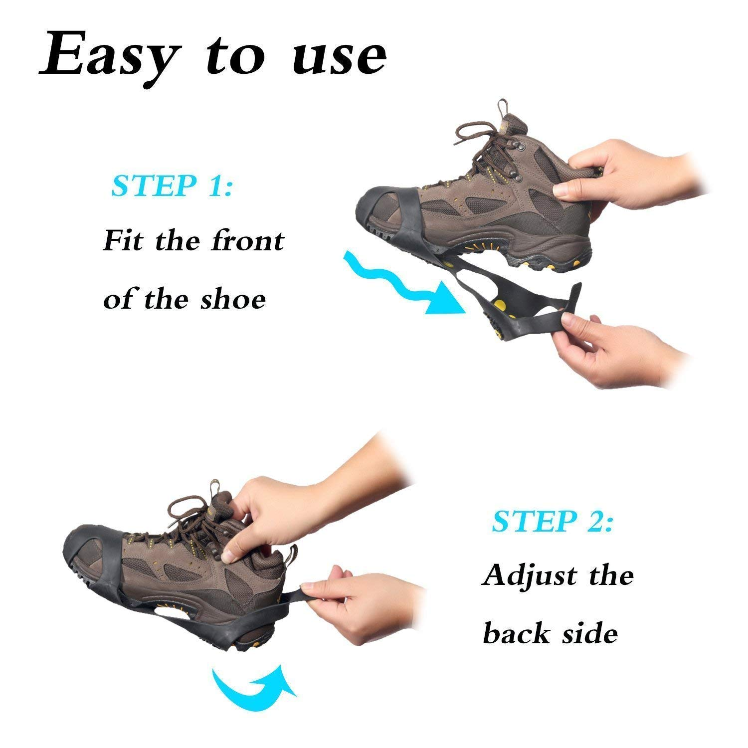 Climbing Snow Ice Cleats Grips Anti-Slip Studded Ice Traction Shoe Covers Spike Crampons Cleats Size S//M//L//XL AGPTEK Non-Slip Over Shoe