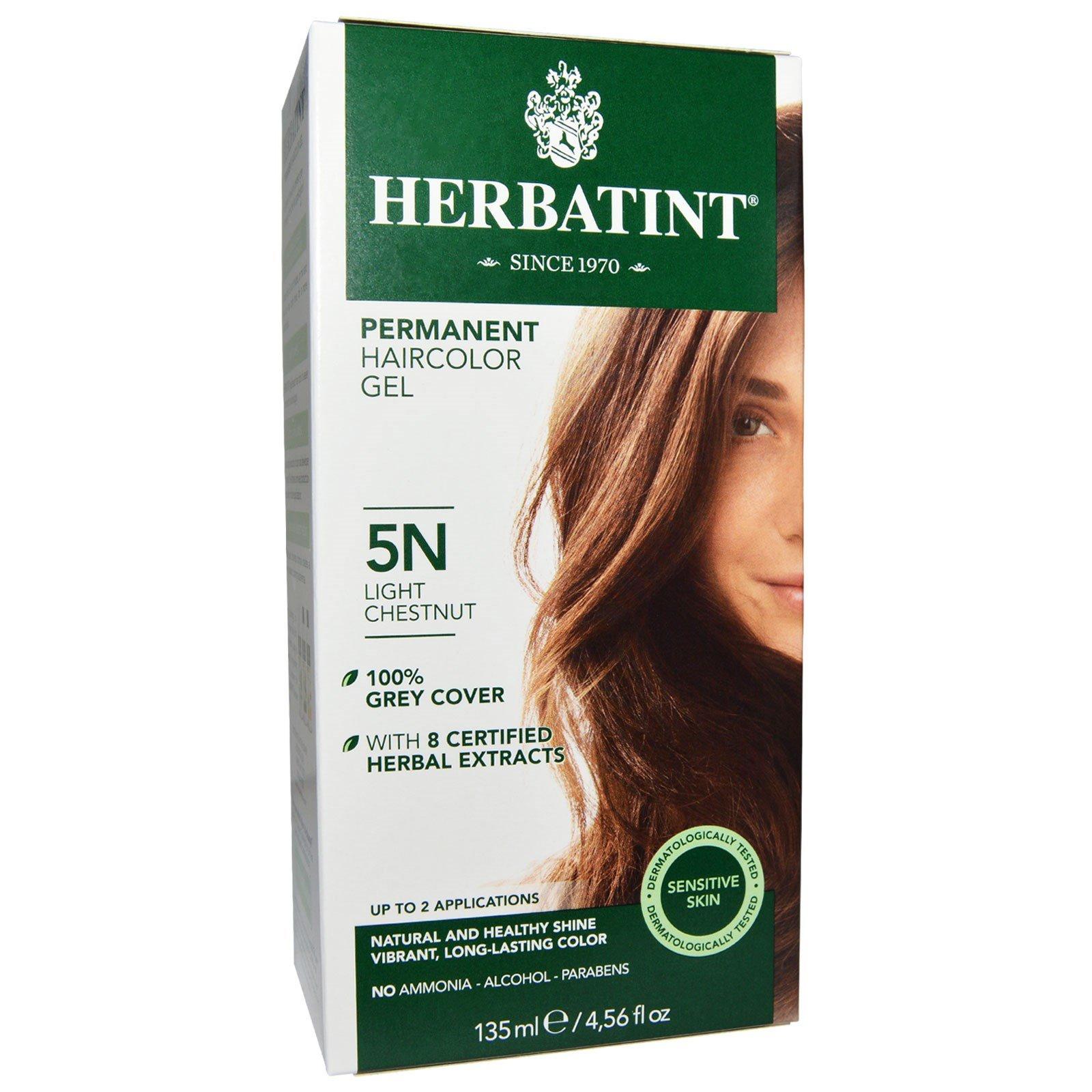 Herbatint, Permanent Haircolor Gel, 5N, Light Chestnut, 4.56 fl oz (135 ml) - 2pc