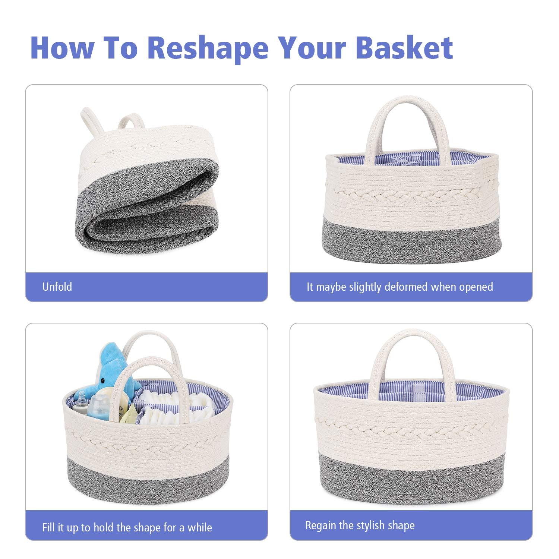 Portable Nursery Storage Bins for Newborn and Infant Essentials Magicfly Cotton Rope Baby Diaper Caddy Organizer with 2 Bibs White+Grey Baby Shower Gift Basket Diaper Basket Organizer