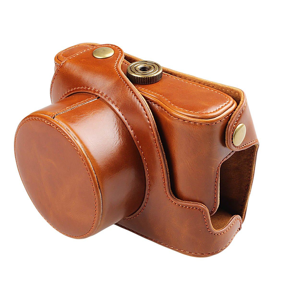 xhorizon TM FLK Black Protective Leather Camera Case, Bag Case for Canon PowerShot G1X Mark II Digital Camera 201502061432H