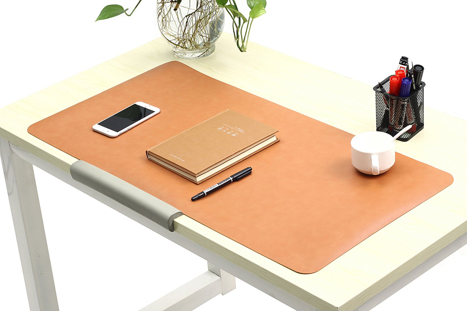 "Leather Desk Pads/Blotter Eco-friendly Microfiber leather Desk Mat Protector for Home & Office Non slip Laptop Keyboard Mouse Pads Extra Large 31.5"" x 15.7"" x 0.08"" (Light-brown, Medium)"