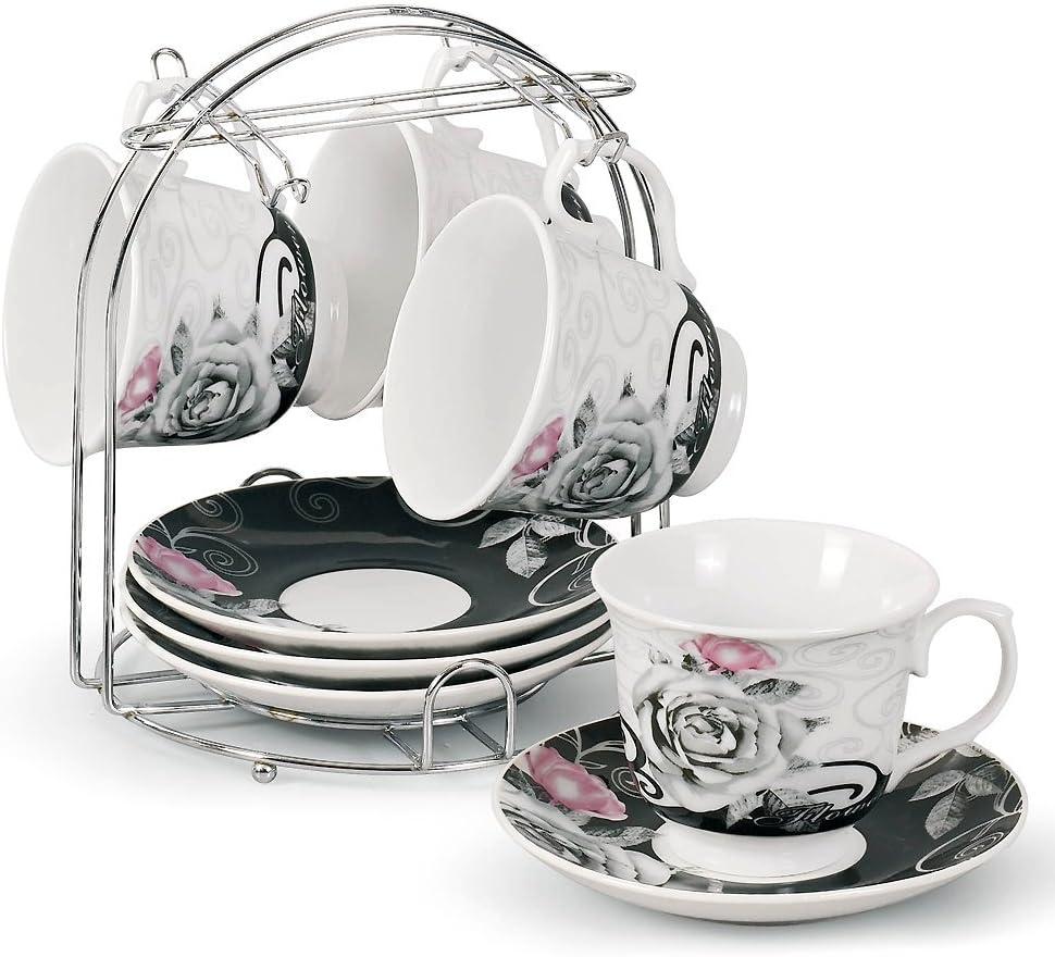 Lorren Home Trends 5-Piece Tea/Coffee Set, Black Rose Design
