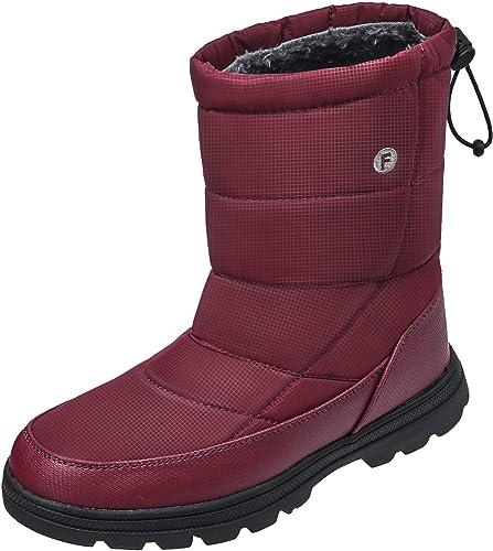 34b586d155be JOINFREE Warm Winter Snow Boots Womens Full Fur Mid Calf Lightweight  Anti-Slip Boots Waterproof