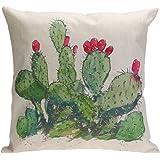 Whitelotous 18 x 18 Inch Creative Cactus Succulent Plants Cotton Linen Decorative Square Cushion Cover Throw Pillow Case Home Sofa Car Decor (1#)