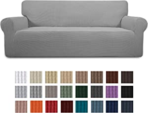 Easy-Going Stretch Oversized Sofa Slipcover 1-Piece Couch Sofa Cover Furniture Protector Soft with Elastic Bottom for Kids, Spandex Jacquard Fabric Small Checks(X Large,LightGray)