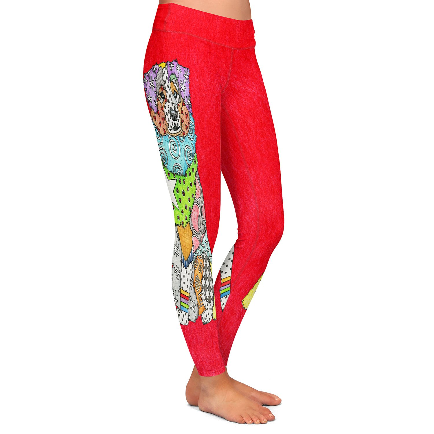 Athletic Yoga Leggings from DiaNoche Designs by Marley Ungaro Australian Shepherd Red