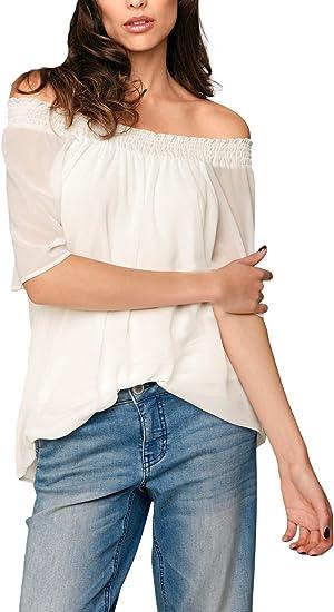 Camisas Mujer Verano Manga Corta Hombros Descubiertos Cuello Barco Suelto Elegantes Vintage Hippie Fashion Casual Gasa Blusas Blusones Camisetas Shirts Tops: Amazon.es: Ropa y accesorios
