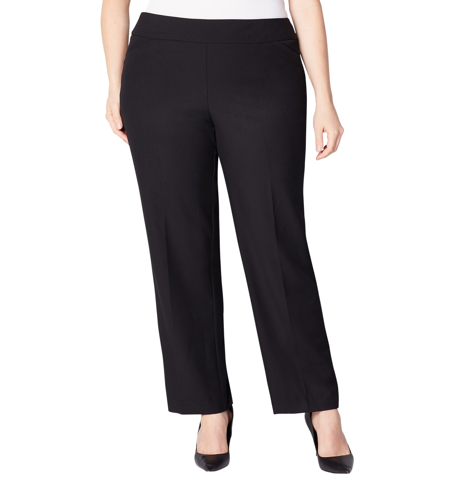 Avenue Women's Luxe Slimming Pull-On Pant with Tummy Control, 32 Black