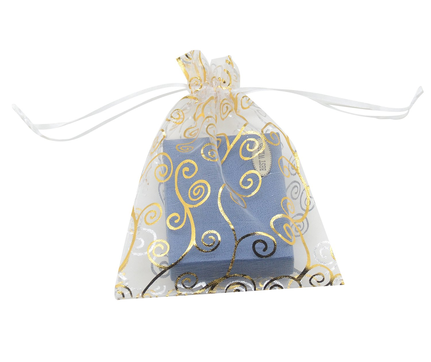 SUNGULF 100pcs Organza Pouch Bag Drawstring 4x6'' 10x15cm Strong Gift Candy Bag Jewelry Party Wedding Favor (Gold White)