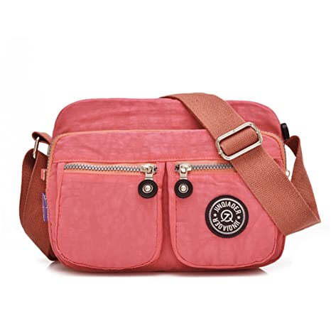 Tiny Chou Lightweight Waterproof Nylon Shoulder Bag Compact Crossbody Messenger  Bag with Pockets Pink  Amazon.in  Bags a36d2f1c9ba20