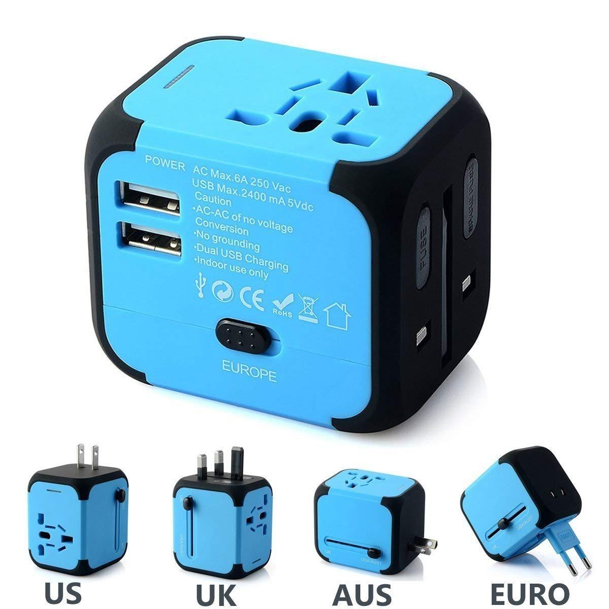 FEIGO Adaptateur de Voyage Universel, [UE US UK AUS] Adaptateur Prise de Courant International, Mini Adaptateur de Chargeur avec 2 Ports USB pour Plus de 150 Pays - Bleu