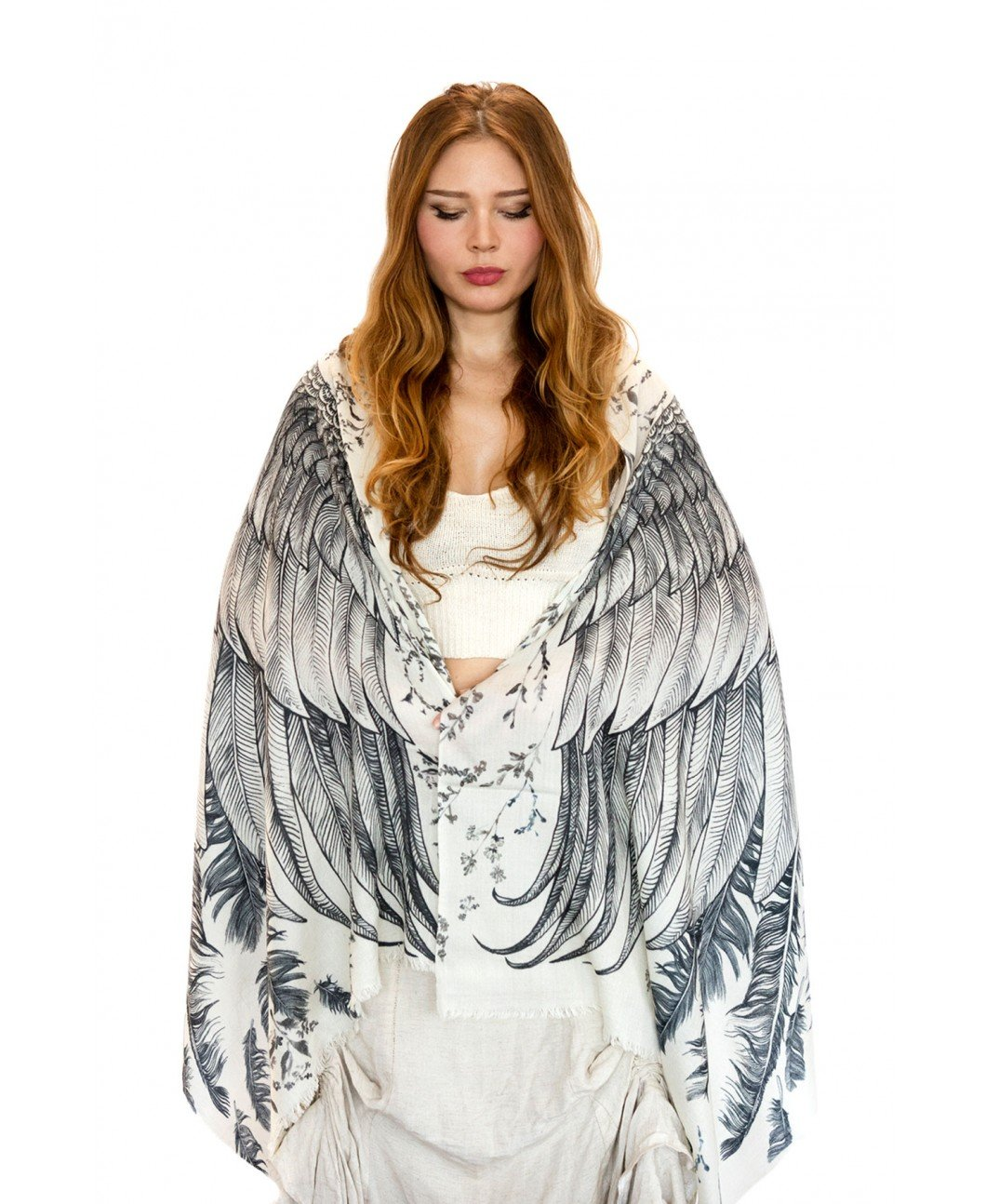 White Wings Bird Feather Scarf. Hand Painted Tribal Wings Scarf, Wrap by Shovava