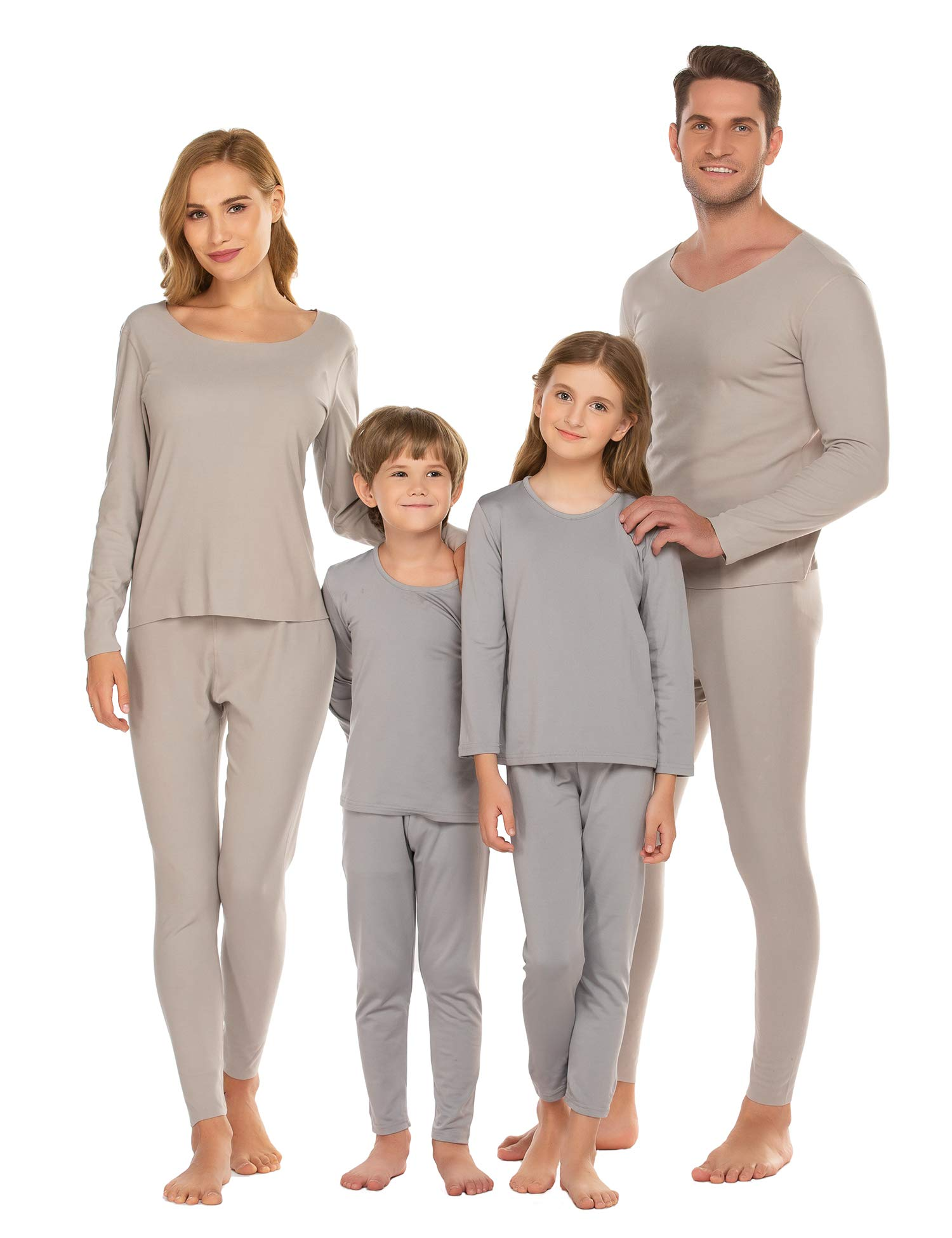 luxilooks Family Thermal Underwear Set Womens Kids Girls Winter Skiing Warm Top&Bottom Long Johns (Men/Gray,XL) by luxilooks