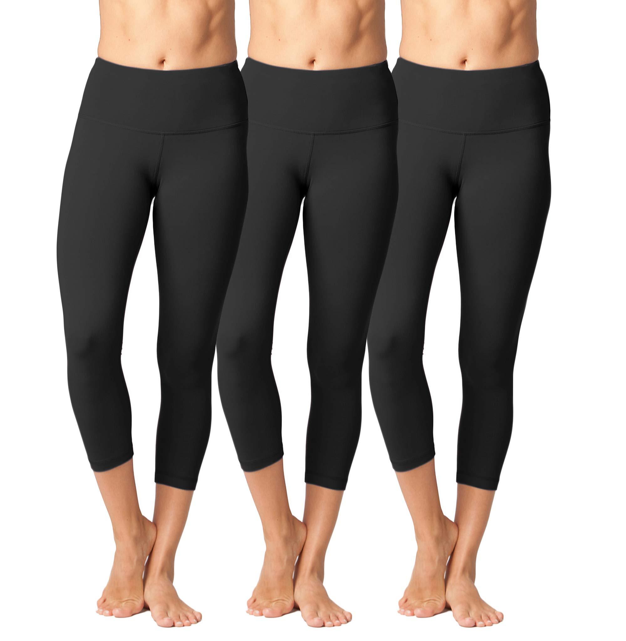 Yogalicious High Waist Ultra Soft Lightweight Capris - High Rise Yoga Pants (XS, Black 3 Pack)