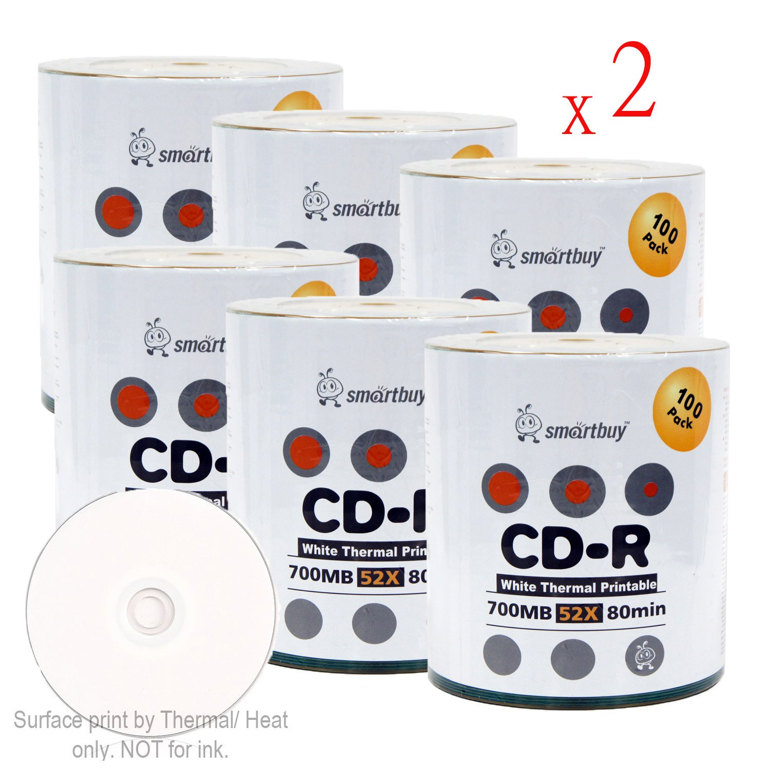 Smart Buy CD-R 1200 Pack 700mb 52x Thermal Printable White Blank Recordable Discs, 1200 Disc, 1200pk