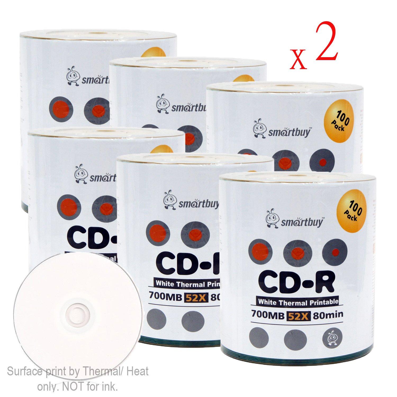 Smartbuy 700mb/80min 52x CD-R White Thermal Hub Printable Blank Recordable Media Disc (1200-Disc)
