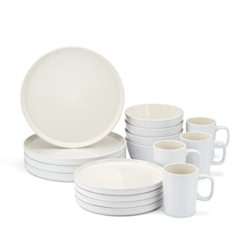 Amazon.com Food u0026 Wine For Gorham Modern Farmhouse 16-Piece Dinnerware Set White Linen Kitchen u0026 Dining  sc 1 st  Amazon.com & Amazon.com: Food u0026 Wine For Gorham Modern Farmhouse 16-Piece ...