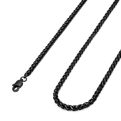 jewelry besteel link steel chain black necklace dp mens womens wheat stainless inch