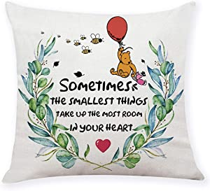 """chillake Classic Winnie The Pooh Quotes Pillow Covers Gifts- Pooh Pillow Case Cushion Cover for Sofa Couch Decor - Funny Best Friend Friendship Quote Gift (18""""x 18""""Inch)"""
