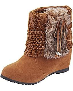 Minetom Mujer Invierno Moda Botines Conejo Pelaje Cuña Zapatos De Plataforma Calentar…