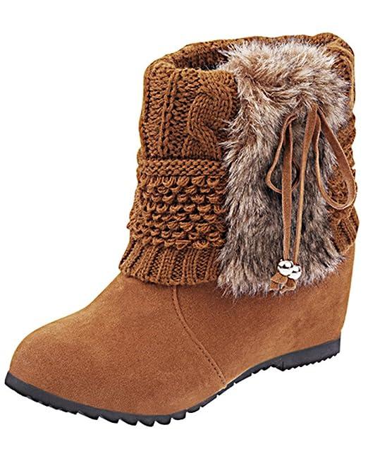 Minetom Mujer Invierno Moda Botines Conejo Pelaje Cuña Zapatos De  Plataforma Calentar Botas De Nieve  Amazon.es  Ropa y accesorios b2deae883e7f