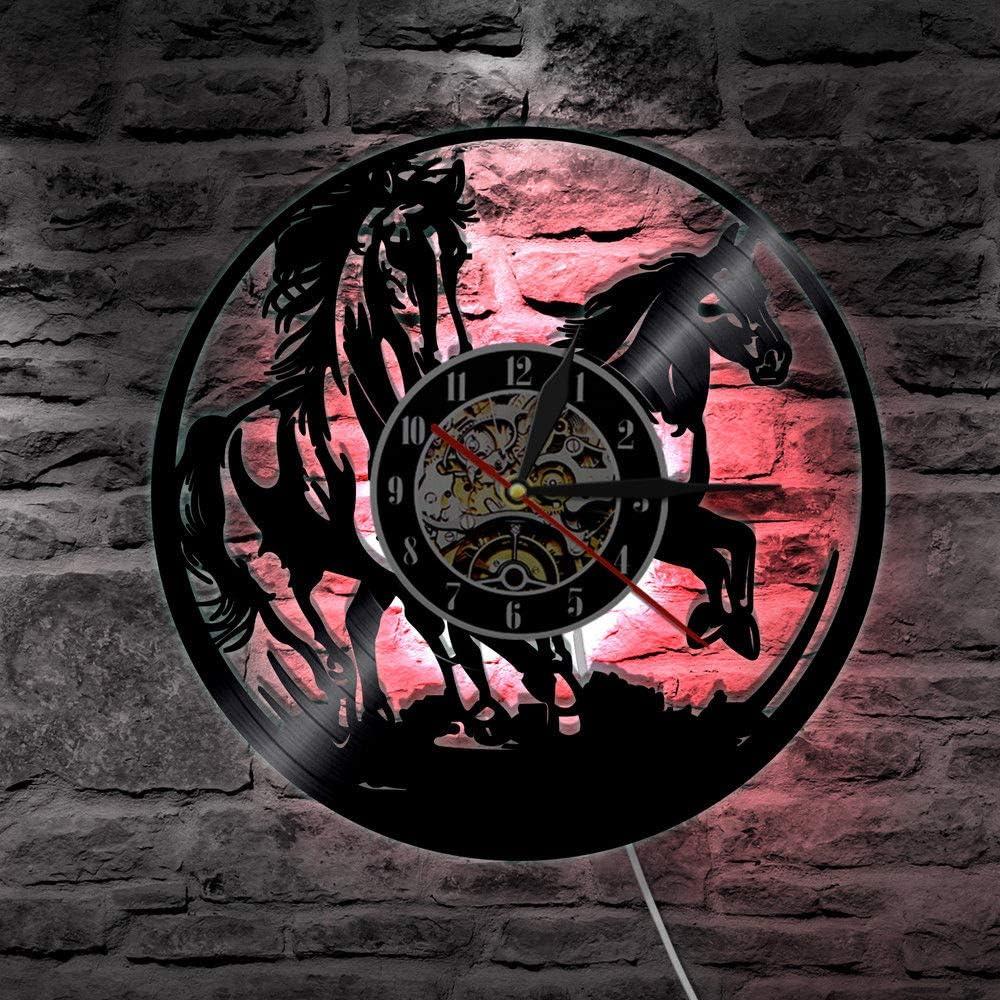 WERWN Decoración teledirigida Ligera cambiante del Color del LED para la lámpara de Pared Animal Retro del Caballo