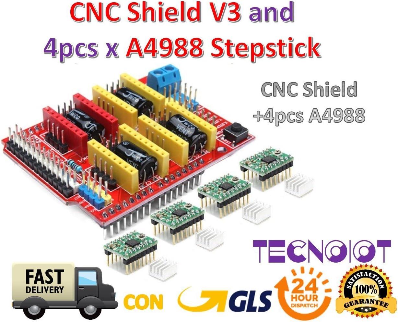 TECNOIOT CNC Shield V3 Expansion Board + 4pcs A4988 (Green Color ...