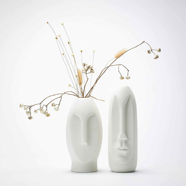 Face Vase Set 2, White Modern Vase, Ceramic Statue Human Face Vase Decor, Sculpture Decor, Fire Place Decoration, Mid Century Modern 2 Pack Vase Set